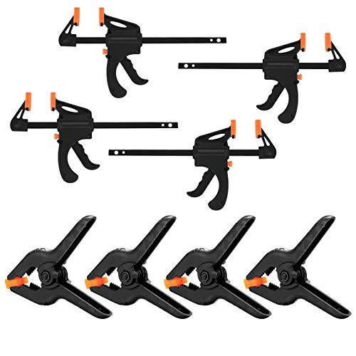 4 piezas de apriete de una mano y 4 unidades de abrazaderas de resorte, abrazaderas de sujeción rápidas, pinzas de sujeción para placa de madera, 4,5 pulgadas / 4 pulgadas
