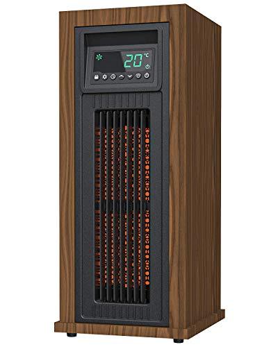 KUPPET Elektrischer Kaminofen Freistehender Herd Tragbare Innenraumheizung mit Kindersicherung & Großem LED-Display & Temperaturregelsystem & Timer & Überhitzungs- & Kippschutz
