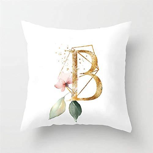 NTDRB 1 Uds, Almohada con Letras de Flores, Alfabeto inglés, Funda decojín Blanca,decoración depoliéster,45 * 45 cm, 2BZ, 40972, B