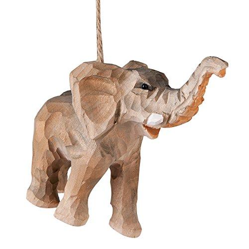C&F Home Elephant Wood Carved Wildlife Safari Christmas Xmas Ornament...