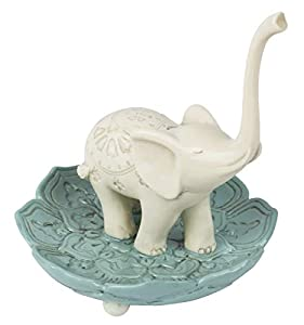 "Elegant Ceramic Good Luck Elephant Jewelry Ring Holder, White / Teal, Medium, 3.5"" x 3.5"""