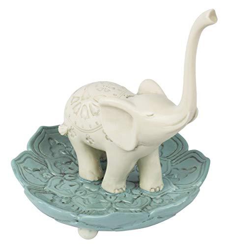 Grasslands Road 464005 Resin Good Luck Elephant Jewelry Ring Holder, White/Teal, Medium, 3.5' x 3.5'