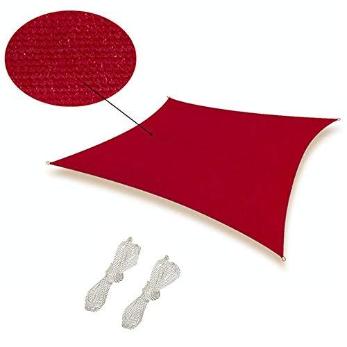 re-Share - Tenda parasole quadrata in HDPE traspirante, anti UV, per giardino, terrazzo, corde, 6 m x 8 m, colore: Rosso