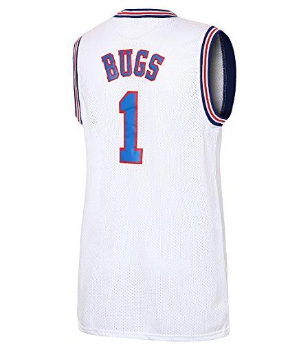 JOLI SPORT Bugs 1 Bunny Space Men's Movie Jersey Men's Basketball Jersey S-XXXL White/Black S-XXXL (White,Small)