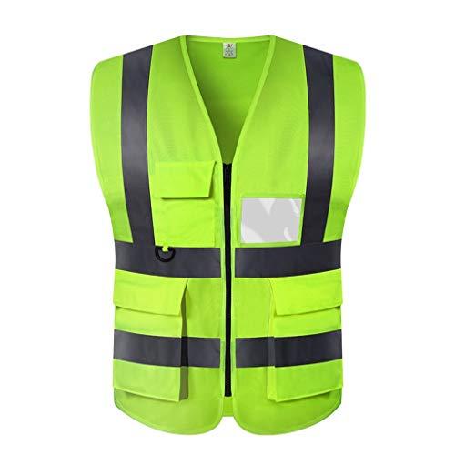 Sicherheitsweste Multi Pocket High Visibility Mit Reißverschluss Weste Erinnerung Reflective Faltbare Arbeitssicherheit Vest Nacht BAU,a,XXXL