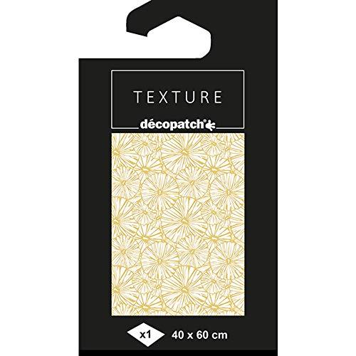 Décopatch TD790C Bogen Papier mit Lotus Blätter (40 x 60 cm, gefaltet, Motiven mit Textureffekt, ideal für Ihre Pappmachés) 1 Stück, weiß/gold