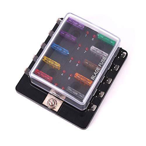 SunTop Caja de Fusibles Portafusibles con Lámpara de Alerta LED Kit para Coche Barco Marino Triciclo 12V 24V (10 Vías)