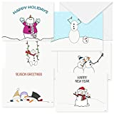 36 Quality Cute Funny Christmas Cards   Boxed Set With Envelopes. Blank Assorted Holiday Cards On Recycled Paper For 2020   Assorted Humorous Christmas Cards Bulk