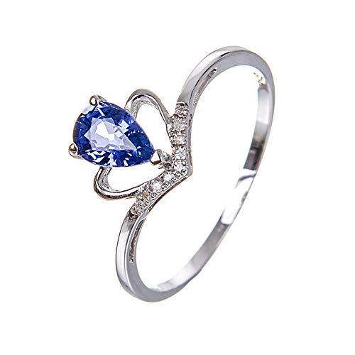 Daesar Anillo Mujer Oro Blanco 18K Plata Azul Gota de Agua Corazón Zafiro Azul Talla 22