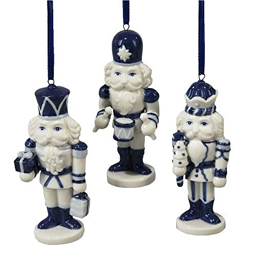 Porcelain Delft Blue Nutcracker Ornament Set Of 3