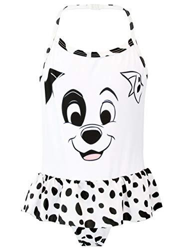 Disney Costume da Bagno per Ragazze La Carica dei 101 Bianco 6-7 Anni