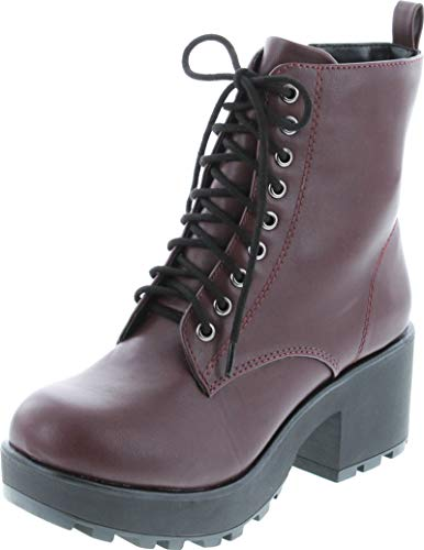 Soda Women's Magpie Faux Leather Lace-Up Combat Mid Heel Military Ankle Boots,Dark Wine,7.5