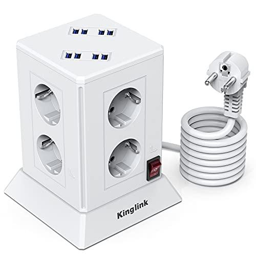 Regleta Vertical Torre, Regleta Enchufes 8 Tomas con 8 USB(5V/4,8A), Enchufe Multiple Proteccion Sobretension, Torre Enchufes con Base Enchufes Multiple,Tapón de Seguridad 2500W/10A, Cable 2M