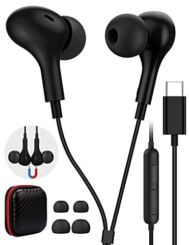 TITACUTE USB C Kopfhörer HiFi Stereo Magnetic in Ear USB C Headset mit Mikrofon und Lautstärkeregler Ohrhörer für P40 P30 P20 Pro, Samsung S21 S20 FE, OnePlus Nord 2 9 Pro 8 7 8T, Pixel 5 4 3 2, Mi 11