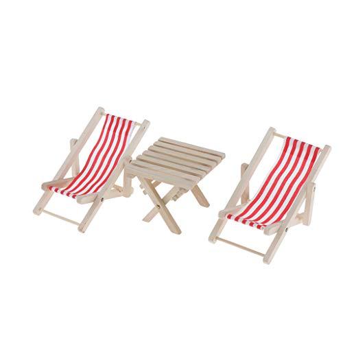 lahomia 1/6 Dollhouse Swimming Pool Sedia a Sdraio E Tavolo da Spiaggia a Strisce in Legno - Rosso, Come descritto