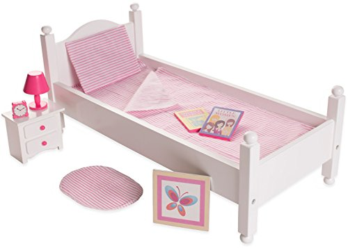 Playtime by Eimmie Doll Bedroom Set Toy Set-18 Inch Doll Furniture- Doll Bed with Doll Accessories - 18 Inch Doll Bed and Night Stand with Doll Bedding