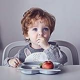 Bebamour Baby Toddler Owl Cub Placa de succión, placa de alimentación Stay Put, placa dividida para bebés Placa de succión linda para niños pequeños Placa de plato para bebé sin BPA (Gris)