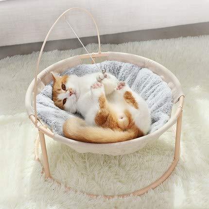 HOOPET Katze Liegestuhl Liegemulde| weiches Kanichenfell Katze Bett Sofa | mit Spielball, Katzenminze Darin | geeignet für Innenraum und Garten | Höhe 40cm