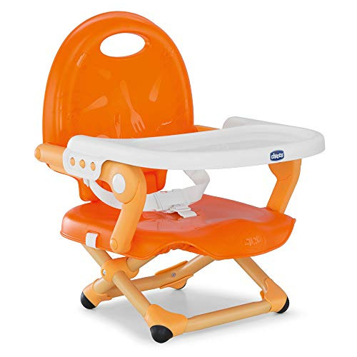 Chicco Pocket Snack Toddler Booster Seat Dining Chair for Children 6 Months to 3 Years (15 kg), Portable and Adjustable Baby High Chair with Compact Closure and Removable Tray - Orange