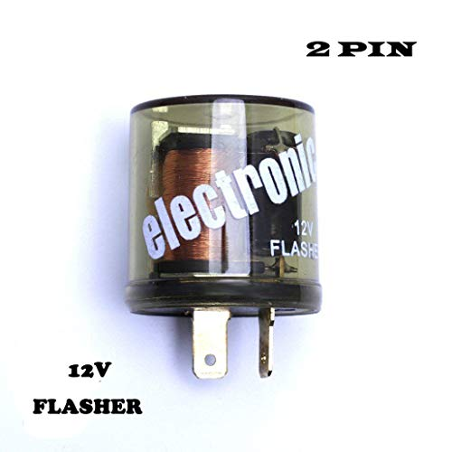 RDBS 12V Electronic Turn Signal Flasher Relay - LED - 2 Prong - Round Style-2 pin flasher relay