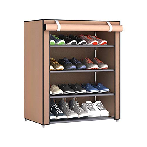 fuguzhu Zapatero, con Cubierta De Tela 4 Niveles Organizador Zapatos EstanteríA, Armario para Guardar Zapatos 60x30x72 Cm, Organizador para Zapatos con Capacidad para 12 Pares De Zapatos (Marrón)