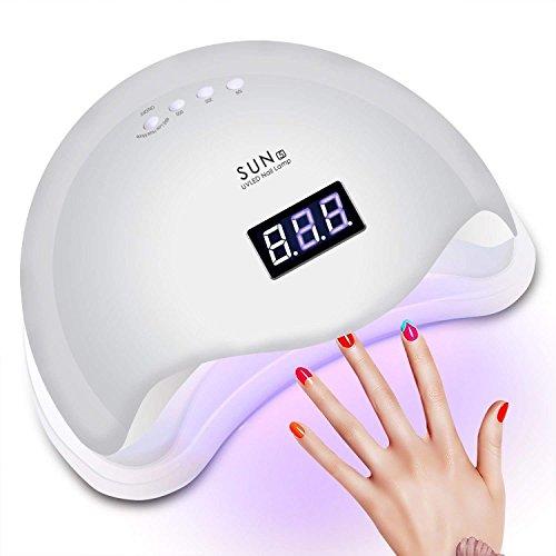 Rixow Lampada per asciugare le unghie, 48W, LED/UV, con timer, professionale, per gel per manicure e pedicure, con sensore, ampio spazio interno, pannello estraibile, 3modalità, colore: bianco