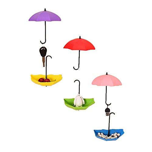 Oyfel Crochet Adhesif Forme de Parapluie Rond Rose en Plastique pour Bebe Serviette Salle de Bain Mur Maison Cusine Clef Decoration Vetement 6 Pcs Couleur Aléatoire