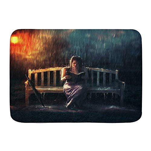 Yilan Badematte Teppich, Frau Regen Mädchen Bank Lesebuch in Regensturm Regenschirm Dunstige Lampe Moderne Kunst, Plüsch Badezimmer Dekor Matten mit Rutschfester Rückseite