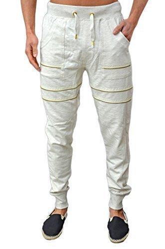 Homme Design Jogging mode célébrité Coupe Slim Skinny Extensible côtelé Jogging Pantalon De Jogging Gym Course Sport Bas GA 152 3 Couleurs - Blanc cas