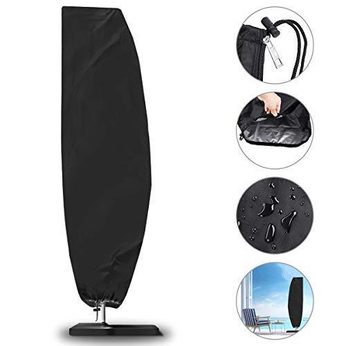NASUM Schutzhülle für Ampelschirme Sonnenschirmhülle mit Stab, Abdeckhauben für Sonnenschirm 2 bis 4 m mit Reißverschluss und Zugkordel Schirmhülle schwarz (265 x 40/70/ 50 cm)