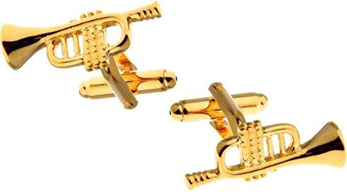 Amanto Clark Gold Manschettenknöpfe - 316L Stahl - Trompete - 8x25mm
