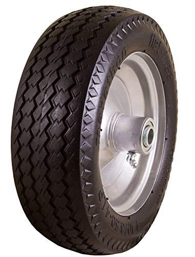Marathon 4.10/3.50-4' Flat Free, All Purpose Utility Tire on Wheel, 3.5' Centered Hub, 5/8' Bearings