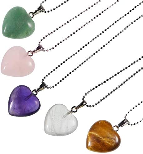 LPBeads 5 Pieces Heart Shape Natural Stone Necklace Chakra Beads Charms Crystal Heading Chakra product image
