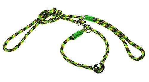 Retrieverleine Grün/braun mit Neongrün 8mm Nr. 7 - leichte Hundeleine incl.verstellbarem Halsband aus speziell entwickeltem PPM Seil und Paracord.Mondox-Leine mit Zugstopp.Handgefertigt in Deutschland