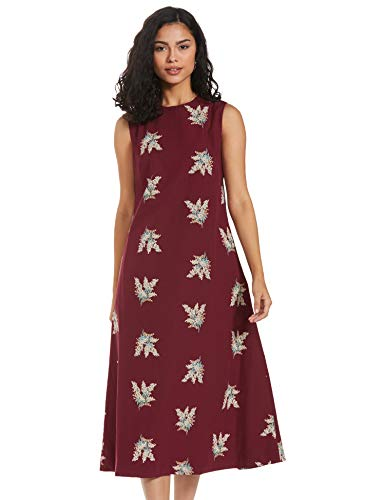 Amazon Brand - Eden & Ivy Cotton a-line Dress (EISS20DR039-C-P_Mauve_X-Large)