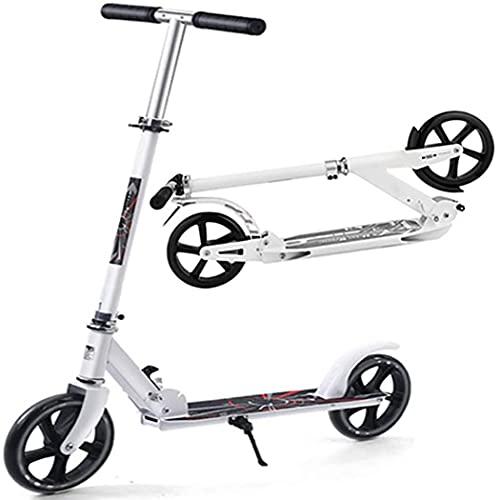 Retoo Faltbare Roller mit 3 Höhenverstellbare und höhenverstellbarer bis 150kg Gewicht, Erwachsene Kickscooter mit 200mm Rädern, Aluminium Kinder Roller, Kinderscooter, Scooter ab 5 Jahren (Weiß)