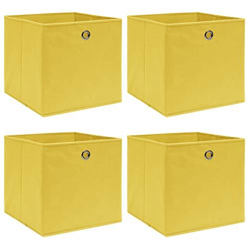 pedkit Cajas de Almacenaje Cubos de Almacenamiento Cajas Organizadoras Plegable 4 uds Tela 32x32x32 cm Amarillo