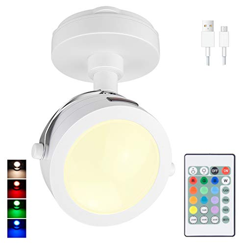 HONGUT LED Spotlight Indoor, Wireless Puck Light with Remote, Rechargeable Accent Lights,12 Color Changing 9LED Picture Light with 360°Rotate Light Head, Stick on Up/Down Light for Dartboard, Printing