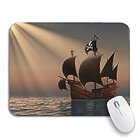 NINEHASA 可愛いマウスパッド ノートパソコン、マウスマット用のレイズ・オブ・ザ・サン3Dノンスリップラバーバッキングマウスパッドの海軍海賊船