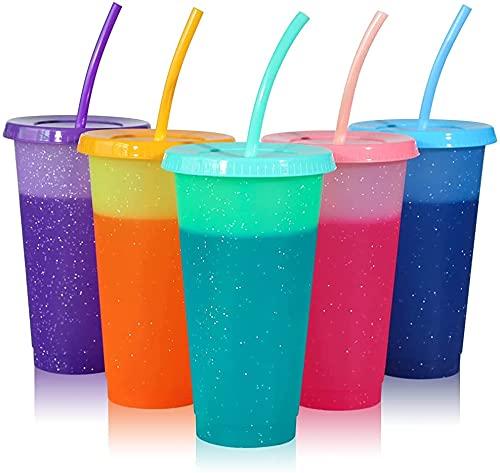 Becher mit Strohhalm & Deckel - 5er Pack Farbwechsel Trinkbecher Kaffeebecher to go - 24oz | 680 ml BPA Frei Kunststoffbecher Wiederverwendbar Plastik Eiskaffee kaltgetränkebecher Tasse