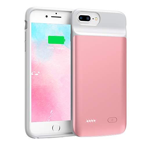 Swaller Upgraded Battery Case for iPhone 8 Plus 7 Plus, 5000mAh Slim Portable Charging Case Extend 120% Battery Life, Protective Backup Charger Case Compatible with iPhone 8 Plus 7 Plus (Rose Gold)