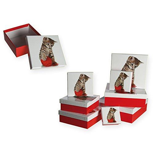 Geschenkdozen set van 8 kat met wollen bolletjes, ca. 22,5 x 22,5 x 8 cm geschenkdoos rood #1635