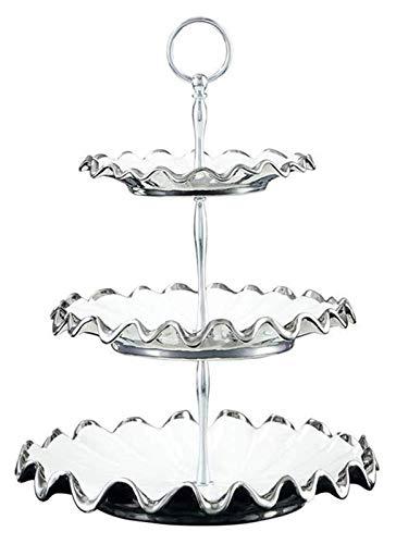 Bandeja de frutas de la cesta de frutas, bandeja de multifunción extraíble estilo europeo con 3 niveles, palets de cerámica Inicio D U0026 OA;Bastidores de COR Mesa de comedor Decoración Placa de frut