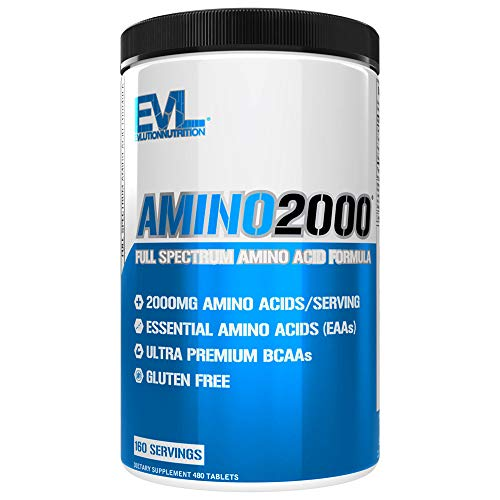 Evlution Nutrition Amino 2000 Tablets - 2 Grams of Amino Acids Essential for Performance, Recovery, Endurance, Muscle Building, Keto Friendly, No Sugar, No Stimulants (480 Tablets, 160 Servings)