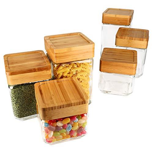 MamboCat 6-TLG. Set Vorratsglas Wilma mit Bambus-Deckel I 0,75L, 1L & 1,6L I Aufbewahrungs-Dose I Frischhalte-Behälter