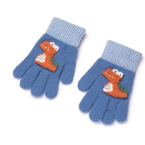 Guantes para niños Otoño e invierno Invierno Niños Cinco dedos Jardín de infantes Estudiante de escuela primaria Al aire libre Cálido y lindo dinosaurio de dibujos animados (Color : Blue)