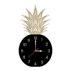 RNTOP Wall Clock,Pineapple Pattern Wooden Clock Non-Ticking Number Quartz Wall Clock 10.6x7 inch Modern Quartz Design Decorative Indoor/Kitchen (4 Colors) (Black)