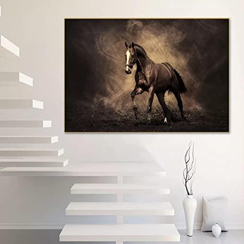 Impresiones en lienzo Pintura abstracta sobre lienzo imágenes para sala de estar marrón caballo carreras animales Cuadros salón pared arte póster impresiones Regalos de pintura al óleo de arte