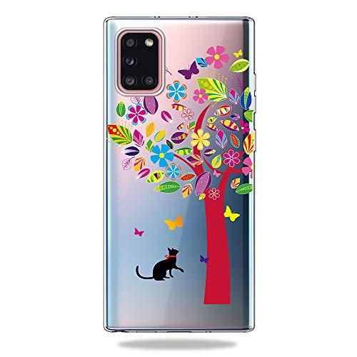AChris Cover per Samsung Galaxy A31 Silicone, Crystal Custodia Trasparente Gel Silicone Ultra Sottile Anti-Graffo Custodia Morbido per Samsung Galaxy A31 - Gatto e Albero