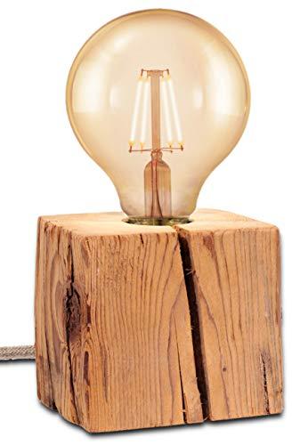 MAYLO OG Lampe aus Altholz Massivholz - Tischleuchte Angelina - inkl. LED Globe Leuchtmittel